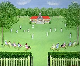 The Cricket Match, 1981 (oil on board)