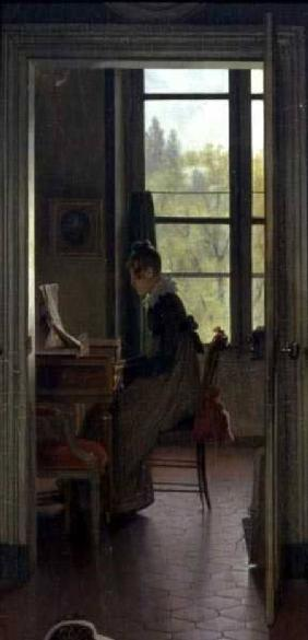 Interior of a Dining Room, detail of a woman playing the piano in the next room