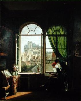 View of Saint-Eustache Church from a House on Rue Platriere or, The Artist's Interior