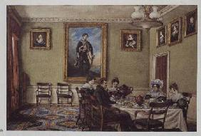 Dining room at Langton Hall, family at breakfast