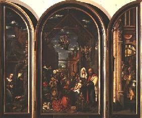 Triptych, depicting the Adoration of the Magi (centre), the Nativity (left) and the Circumcision (ri