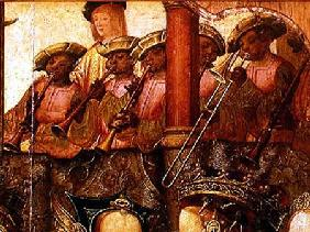 The Engagement of St. Ursula and Prince Etherius, detail of the black musicians