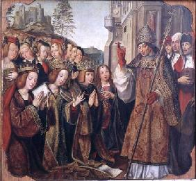 The Pope Blessing St. Auta, St. Ursula and Prince Etherius, from the St. Auta Altarpiece