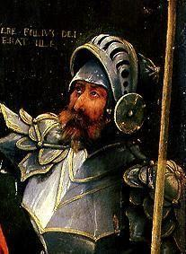 Crucifixion Christi detail: Warrior in armour