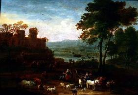 Schoevaerdts, Mathys : Landscape with Travellers ...