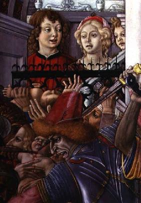 The Massacre of the Innocents, detail of two onlookers observing the carnage from the palace