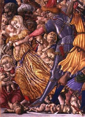 The Massacre of the Innocents, detail of a soldier preparing to stab a child and surrounding carnage