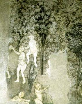 Detail of men bathing from the decorative scheme in the Hall of the Popes