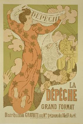 Reproduction of a poster advertising 'La Depeche de Toulouse' newspaper