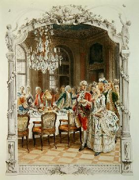 Elegant meal during the Eighteenth century, illustration from ''Une femme de qualite au siecle passe