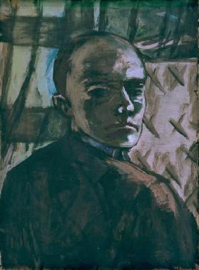 Self-portrait with green curtain