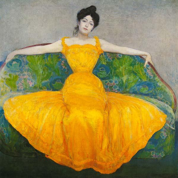 Lady in a yellow Dress