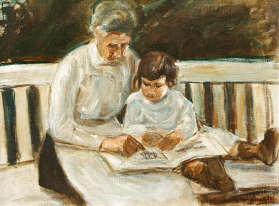 Max Liebermann - granddaughter and nanny on the lawn seat