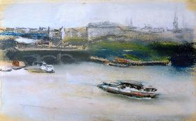 Binnenalster with the Lombardsbrucke, Hamburg, 1910 (pastel on paper)