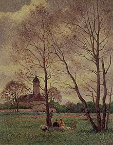 Spring landscape at a church
