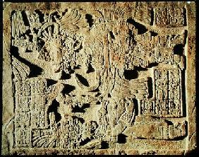 Stela depicting a High Priest and a Woman, from Yaxchilan