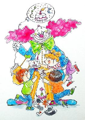 Birthday Clown (w/c & ink on paper)