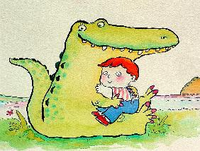 Crocodile Hug, or Best Friends (pen & ink and w/c on paper)