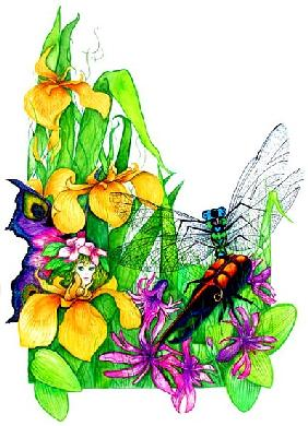 Fairy, Dragonfly and Beetle (w/c on paper)