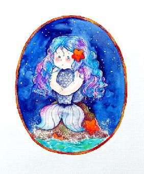 Sad Little Mermaid (mixed media)