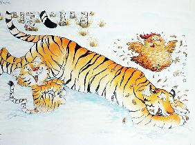 Tigers Playing (mixed media)