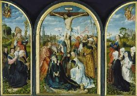 Triptych out of a Frankfurt church: Crucifixion (middle) and founder