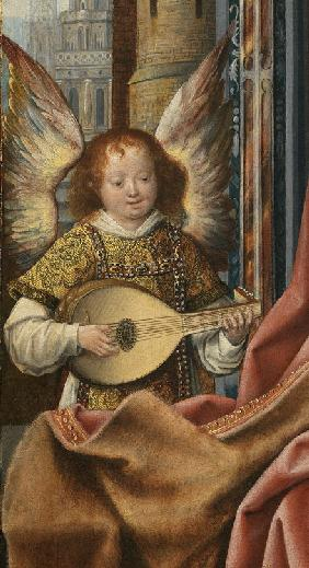 Triptych of the Holy Family with Music Making Angels. Detail: The Angel