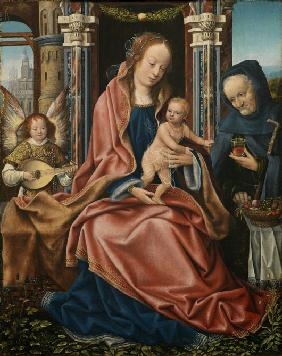 Triptych of the Holy Family with Music Making Angels. Central panel
