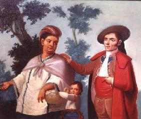 A Spaniard and his Mexican Indian Wife, illustration of mixed race marriages in Mexico
