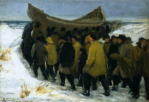 Danish Fishermen Take Her Boat To Water Michael Peter