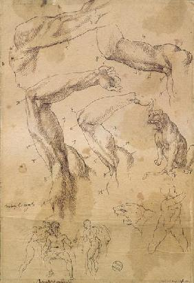 Ms H 184 fol.202 Studies of raised arms, a wild cat and a group of figures  &