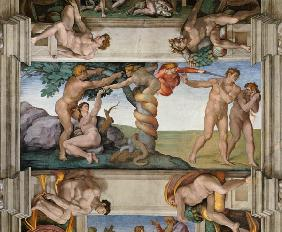 Fall of Man and expulsion from the paradise. Ceiling fresco in the Sistine chapel in Rome