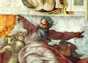 Sistine Chapel Ceiling: Creation of the Sun and Moon, 1508-12 (detail of 183097)