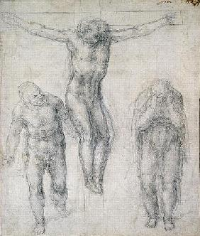 Study of a Crucified Christ and two figures, c.1560