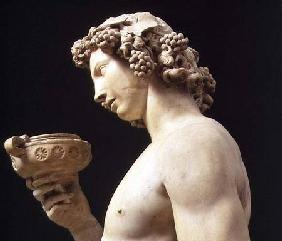 The Drunkenness of Bacchus, detail of his head, sculpture by Michelangelo Buonarroti (1475-1564)