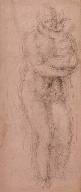Madonna and Child, black chalk on paper