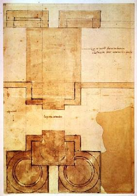 Plan of the drum of the cupola of the Church of St. Peter's Basilica (pen & ink on paper)