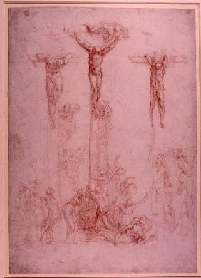 Study of Three Crosses (red chalk) Inv.1860/6/16/3 Recto (W.32)