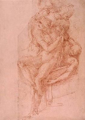 Study of Lazarus and two Attendant Figures (red chalk on paper)