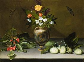 Vase with flowers, cherries, figs and two butterflies