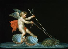 Cupid being led by Tortoises