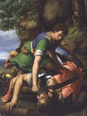 David beheading Goliath (panel)