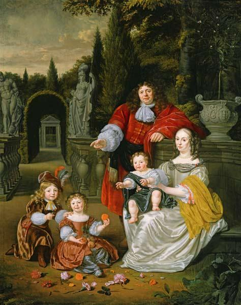 Musscher, Michiel van : A Family Group on a Terrac...