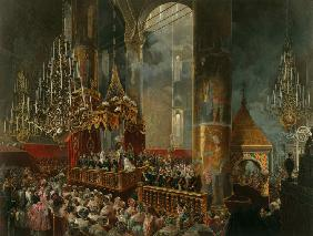 Coronation of Alexander II in the Dormition Cathedral of the Moscow Kremlin on 26 August 1856