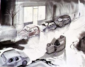 Dead Car Outside the Launderette, 1998 (w/c on paper)