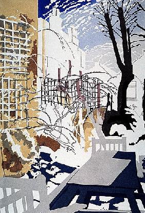 Stark Winter Back-Garden, 1993 (colour linocut)