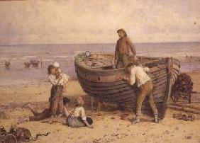 Boat, figures and sea