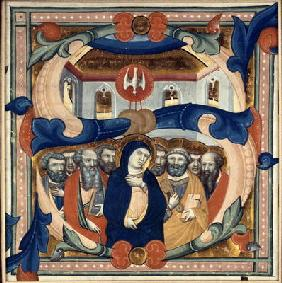 Historiated initial 'S' depicting the Descent of the Holy Spirit, mid 14th century (vellum)