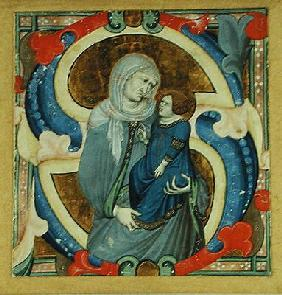 Historiated initial 'S' depicting St. Anne and the Virgin (vellum)