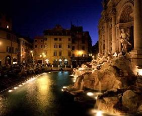 View of the Trevi Fountain at night